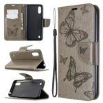 Imprint Butterfly Wallet Flip Leather Protection Shell for Samsung Galaxy A01 – Grey