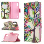 Pattern Printing Leather Wallet Case for Samsung Galaxy A01 – Colorized Tree