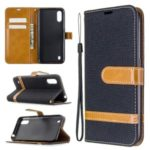Assorted Color Jeans Cloth Leather Wallet Stand Case for Samsung Galaxy A01 – Black