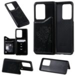 Imprinted Cat Tree Style PU Leather Coated TPU Phone Case for Samsung Galaxy S20 Ultra – Black