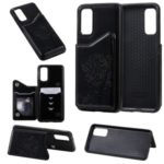 Imprinted Cat Tree Leather Coated TPU Case with Card Slot for Samsung Galaxy S20 – Black