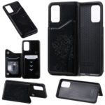Imprinted Cat Tree Leather Coated TPU Card Holder Case with Kickstand for Samsung Galaxy S20 Plus – Black
