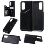 Imprint Six Cats PU Leather Coated TPU Mobile Case with Card Holder for Samsung Galaxy S20 – Black