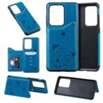 Imprint Cat and Bee Card Holder PU Leather Coated TPU Phone Case for Samsung Galaxy S20 Ultra – Blue