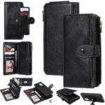 Retro Leather Zip with Stand Wallet Case for Samsung Galaxy S20 – Black