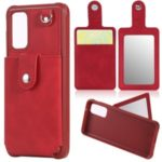 With Mirror Drop-proof Phone Case for Samsung Galaxy S20 – Red
