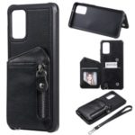 Zipper Pocket Leather Coated TPU Card Holder Case with Kickstand for Samsung Galaxy S20 Plus – Black