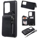 Zipper Pocket Leather Coated TPU Card Holder Shell with Kickstand for Samsung Galaxy S20 Ultra – Black