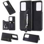 Zipper Pocket Leather Coated TPU Card Holder Case with Kickstand for Samsung Galaxy S20 Ultra 6.9-inch – Black