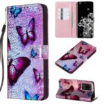 Pattern Printing Glitter Sequins Leather Wallet Case for Samsung Galaxy S20 Ultra – Butterfly