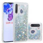Glitter Powder Quicksand TPU Phone Shell for Samsung Galaxy A21 – Silver