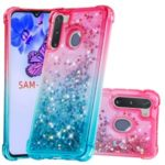 Gradient Glitter Powder Quicksand TPU Shell Phone Case for Samsung Galaxy A21 – Rose/Baby Blue