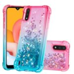 Gradient Glitter Powder Quicksand TPU Shell Cell Phone Cover for Samsung Galaxy A01 – Rose/Baby Blue