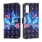 Pattern Printing Light Spot Decor Leather Wallet Phone Casing for Samsung Galaxy S20 – Blue Butterfly
