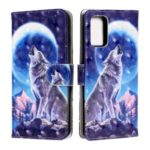 Pattern Printing Light Spot Decor Leather Wallet Phone Shell for Samsung Galaxy S20 Plus – Wolf and Moon