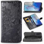 Embossed Mandala Flower Wallet Leather Stand Protection Cover for Samsung Galaxy S20 – Black