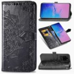 Embossed Mandala Flower Wallet Leather Stand Protection Cover Shell for Samsung Galaxy S20 Ultra – Black