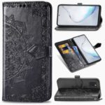 Embossed Mandala Flower Wallet Leather Stand Phone Protection Cover for Samsung Galaxy A81/Note 10 Lite – Black