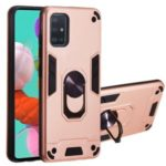 Magnetic Ring Bracket Hybrid PC + TPU Armor Protection Case for Samsung Galaxy A51 – Rose Gold