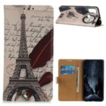 Pattern Printing Wallet Leather Stand Cover for Samsung Galaxy A11 – Eiffel Tower and Quill-pen