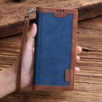 Retro Splicing Leather Phone Case for Samsung Galaxy A30/A20 – Blue