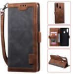 Vintage Splicing Style Wallet Stand Leather Flip Phone Case for Samsung Galaxy A20s  – Grey