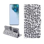 Leopard Texture PU Leather Case with Wallet Stand for Samsung Galaxy S20 Ultra – White