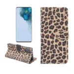 Leopard Pattern Wallet Stand Leather Phone Shell for Samsung Galaxy S20 Plus – Brown