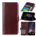 Crazy Horse Leather Wallet Cover Phone Case for Samsung Galaxy M31 – Brown