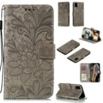 Imprinted Lace Flower Surface Leather Wallet Cover for Samsung Galaxy A51 – Brown