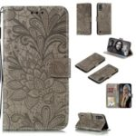 Imprinted Lace Flower Skin Leather Wallet Shell for Samsung Galaxy A01 – Brown
