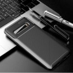 Drop Resistant Carbon Fiber TPU Protection Back Cover for LG V60 – Black
