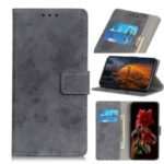 Vintage Style Leather Wallet Stand Case for LG Q70 – Grey