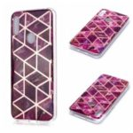 Marble Pattern Rose Gold Electroplated IMD TPU Shell for Huawei Y6 (2019, with Fingerprint Sensor) / Y6 Prime (2019) – Rose