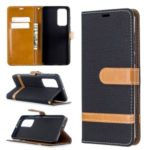 Assorted Color Jeans Cloth Leather Wallet Case for Huawei P40 – Black