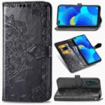 Embossed Mandala Flower Wallet Leather Phone Protection Cover with Stand for Huawei nova 6 4G Version – Black