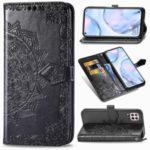 Embossed Mandala Flower Wallet Leather Stand Phone Protection Cover for Huawei Nova 6 SE/P40 Lite/Nova 7i – Black