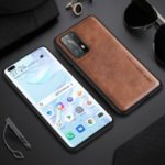 X-LEVEL Vintage Style PU Leather Coated TPU Mobile Cell Phone Cover for Huawei P40 – Brown