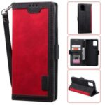 Stylish Retro Splicing Leather Shell for Huawei P40 Pro – Red