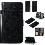 Imprint Malanda Flower Wallet Stand PU Leather Phone Case with Strap for Huawei P40 – Black