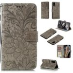 Imprint Lace Flower Leather Wallet Stand Case for Huawei P40 Pro – Grey