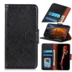 Nappa Texture Split Leather Wallet Case for Motorola Moto E7 – Black