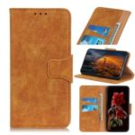 Vintage Style Split Leather Wallet Stand Phone Shell for Motorola Moto G Stylus – Brown