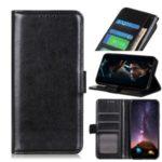 Crazy Horse Leather Wallet Phone Case for Motorola Moto E7 – Black