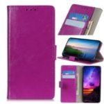 Crazy Horse Leather Wallet Phone Case Cover with Card Slot for Motorola Moto E7 – Purple