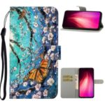 Pattern Printing Light Spot Decor Leather Wallet Mobile Cover for Xiaomi Redmi Note 8 Pro – Yellow Butterfly and Flower