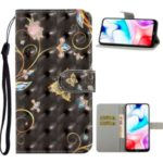 For Xiaomi Redmi 8 Pattern Printing Light Spot Decor Phone Cover Leather Shell – Butterfly and Flower