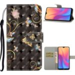 Light Spot Decor Pattern Printing Leather Cell Phone Case for Xiaomi Redmi 8A – Butterfly and Flower