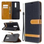 Color Splicing Jeans Cloth Skin Wallet Leather Phone Shell for Xiaomi Redmi K30 – Black