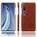 KSQ Crazy Horse PU Leather Coated Hard PC Case Phone Shell for Xiaomi Mi 10/10 Pro – Brown